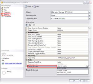Set single user mode through SSMS