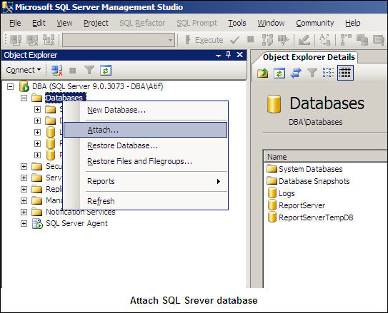 Attach SQL Server Database-1