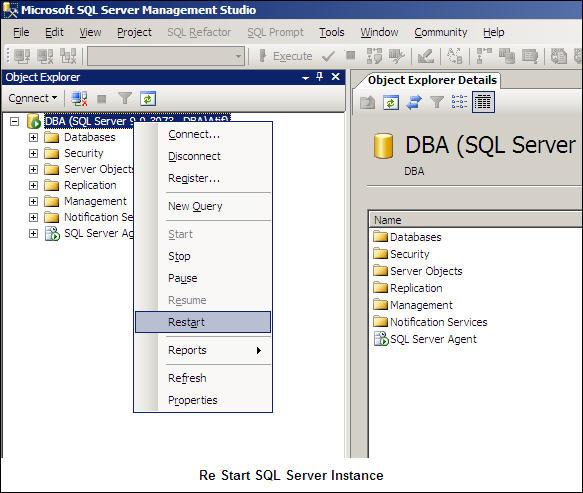 Re Start SQL Server instance