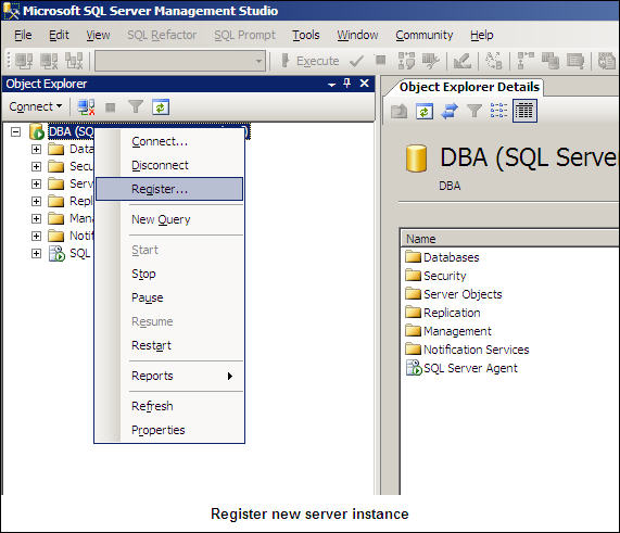 Register New Server Instance