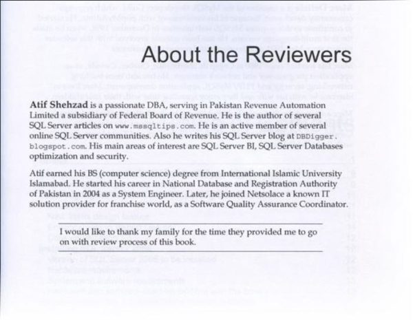 SQL DBA Atif Shehzad Technical review SSRS About The Reviewer