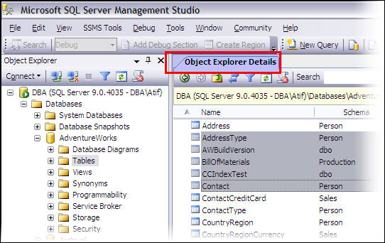 Select multiple objects in SSMS