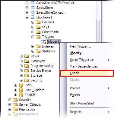 Enable trigger through SSMS