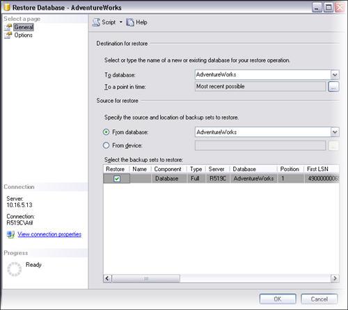 Configure easy restore of last backup