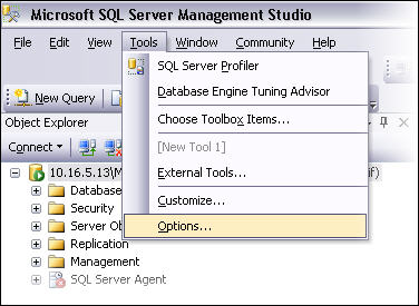 Open Options in SSMS