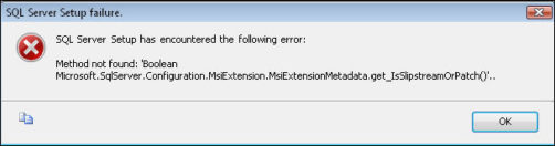 SQL Server 2008 set up error messages on installation