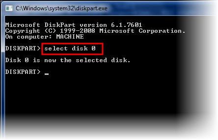 Select disk in DiskPart utility