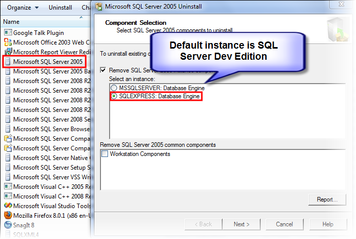 Uninstall SQL Server 2005 Express edition from Windows