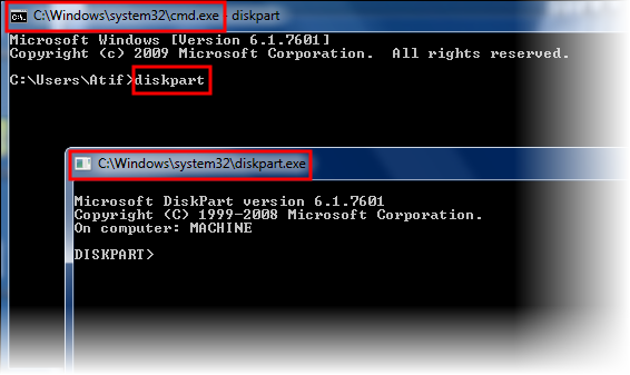 Using DiskPart for disk operations