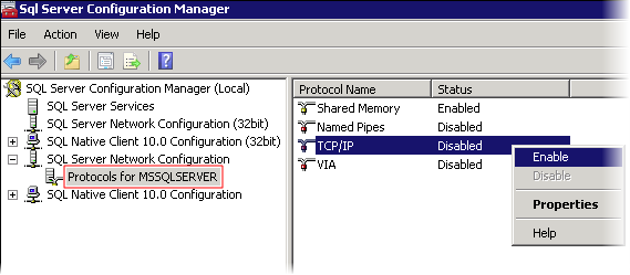 Enable TCP IP in SQL Server configuration Manager