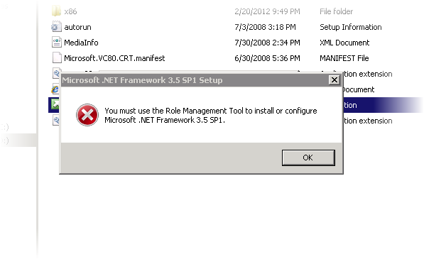 Error message in SQL Server 2008 setup related to Role management tool
