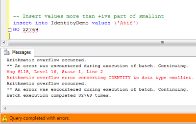 Error when identity column is saturated