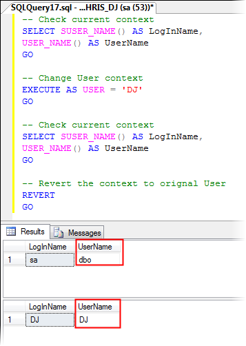 Impersonate SQL Server DB User Using EXECUTE AS USER