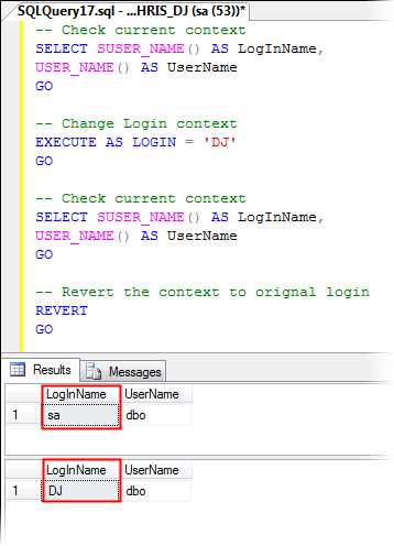 Impersonate SQL Server Login by Using EXECUTE AS LOGIN