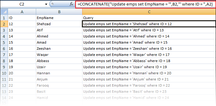 Build queries by concatenating cells in excel sheet through concatenate function