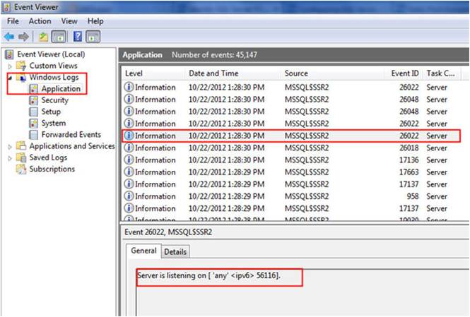 Identify SQL Server port through Windows event log viewer
