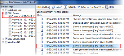 identify the active port of SQL Server through SSMS GUI
