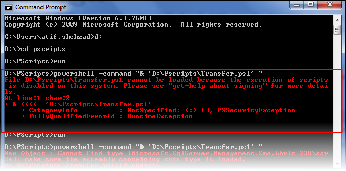 Error while executing power shell script