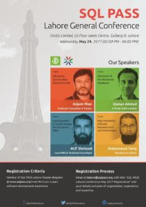 SQL PASS Lahore chapter conference May 2017